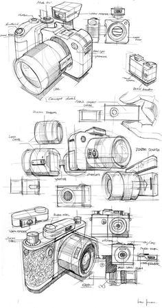M-Tro Camera by Juan Lee, via BehanceYou can find Product sketch and more on our website.M-Tro Camera by Juan Lee, via Behance Drawing Skills, Drawing Reference, Drawing Sketches, Cool Drawings, Drawing Ideas, Drawing Drawing, Camera Sketches, Camera Drawing, Industrial Design Sketch
