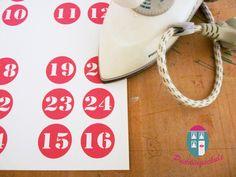Bügelbild Adventskalenderzahlen von Puddingschule-Meterware auf DaWanda.com