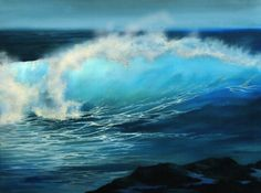 Breaking Wave by Neadeen Masters  Acrylic (Wonderful wave. Love how the light seems so real.)