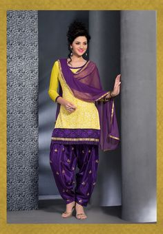 Yellow with purple brasso silk #designer #punjabisuit