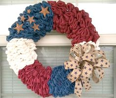 Gorgeous burlap flag wreath unlike any other!  Find us on Etsy:https://www.etsy.com/listing/517396059/american-flag-wreath-patriotic-wreath?ref=listings_manager_table