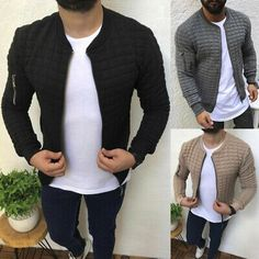 New Embossed Zipper Bomber Jacket – Lolayalls Bomber Jacket Men, Plaid Jacket, Man Jacket, Sport Casual, Men Casual, Casual Outfits, Suit Shirts, Jacket Brands, Sweater Shirt