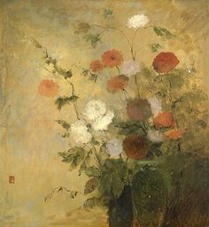 Flowers in a Vase,  Leon Dabo. American Painter, born in France (1864 - 1960)