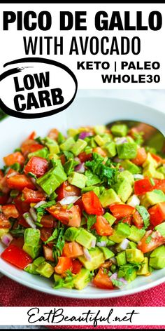 Pico de Gallo with Avocado is the best version of chunky, fresh salsa there is! Use with all your favorite Mexican dishes, meats and salads. (GF, Keto, Low Carb, Paleo, Whole30) | Eat Beautiful || #picodegallo #salsa #lowcarb #healthyrecipes #avocado #whole30 #paleo #ketorecipes Kitchen Recipes, Paleo Recipes, Real Food Recipes, Cooking Recipes, Paleo Sauces, Avocado Recipes, Dip Recipes, Free Recipes, Easy Recipes