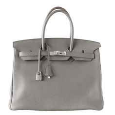 HERMES BIRKIN 35 Bag Etain Clemence Palladium hardware SO chic | From a collection of rare vintage handbags and purses at https://www.1stdibs.com/fashion/accessories/handbags-purses/