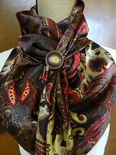 """#127S - 100% SILK CHARMEUSE - Brown, Crème, Maroon & Red Paisley - $40 Concho Sold Separately Approx 44"""" square but can be custom sized"""
