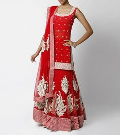 Red Lehenga & Long Choli with Gota Work