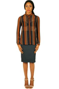 JESSIE LONG SLEEVE BLOUSE – ORANGE AND BLACK PRINT  #EVEANDTRIBE  #AfricanFashion #NigerianFashion #BuyNigerian   Available at http://lespacebylpm.com/