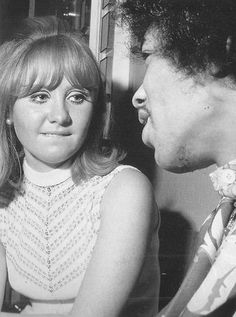 """Lulu with Jimi Hendrix. The first record I ever bought was Lulu's """"Me the Peaceful Heart."""" Still love that song."""