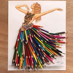 Dress made of colored pencils & shavings by Edgar Artis