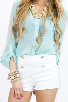love the soft blouse with the contrast of the chunky jewelry