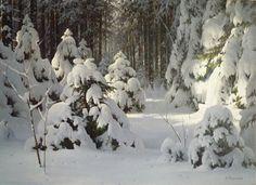 Nature Paintings, Landscape Paintings, Watercolor Paintings, Oil Paintings, Landscapes, Painting Snow, Winter Painting, Winter Magic, Winter Art