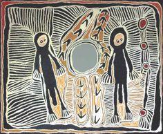 Linda Syddick Napaltjarri, Kangaroo Man and Emu Man, acrylic on linen, 183 x 153 cm. Japingka Gallery, Fremantle.