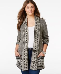 Lucky Brand Jeans Plus Size Printed Long-Sleeve Cardigan - Sweaters - Women - Macy's