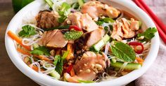 Light up the barbie with this chargrilled salmon and rice noodle dish.