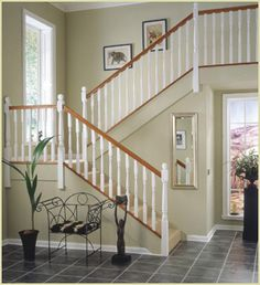 Staircase Spindles, Staircase Railing Design, Painted Staircases, Timber Staircase, Oak Stairs, Wood Railing, Stair Handrail, Painted Stairs, Banisters