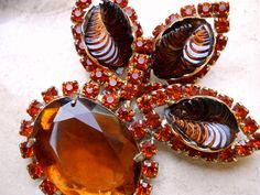 Carved Glass Topaz Amber Brooch CATHE' Orange by RenaissanceFair