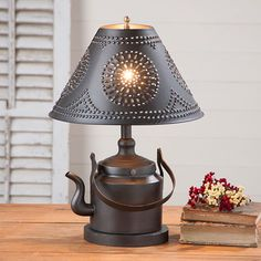 Three-Way Tea Kettle Lamp with Chisel Pattern Punched Tin Shade ~~~~~~~~~~~~~~~~~~~~~ A most adorable table lamp created from a replica tea kettle. The beautiful chisel punched shade allows this piece Rustic Lamps, Rustic Lighting, Vintage Lighting, Accent Lighting, Diy Luminaire, Steampunk Lamp, Primitive Kitchen, Pipe Lamp, Lampshades