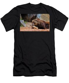 Grizzly Bear Men's T-Shirt (Athletic Fit) featuring the photograph Teddy Bear At Play by Cynthia Guinn