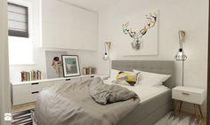 POMYSL NA LAMPY Mieszkanie na Woli Warszawa 54m2 - Mała sypialnia małżeńska, styl skandynawski - zdjęcie od Grafika i Projekt architektura wnętrz