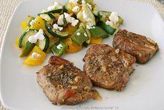 solomillo de cerdo marinado y verduras asadas con queso de cabra