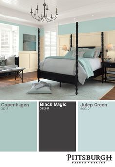 Paint in blues to create a soothing atmosphere in a bedroom! http://www.menards.com/main/search.html?search=Copenhagen+or+%22Black+Magic%22+or+%22Julep+Green%22&sf_categoryHierarchy=Paint_7918%7EInterior+Paint+%26+Stain_8015&sf_brandName=Pittsburgh+Paint+%26+Stain&utm_source=pinterest&utm_medium=social&utm_campaign=interestinginteriors&utm_content=paint&cm_mmc=pinterest-_-social-_-interestinginteriors-_-paint
