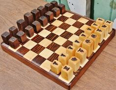 Wooden Chess Set Engraved Blocks Maple by PickslaysWoodworking