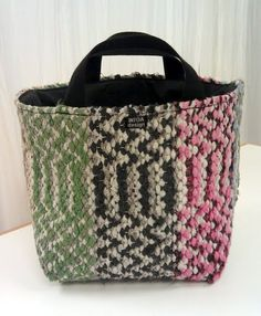 INTOA design - Räsykori / bag made of carpet Carpet Squares, Carpet Stairs, Persian Carpet, Carpet Runner, Woven Rug, Bag Making, Upcycle, Recycling, Weaving