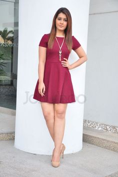 CelebsNext ~ Bollywood and South Indian Cinema Actress Exclusive Picture Galleries: Rashi Khanna Latest Photo Gallery in Red Short Dress