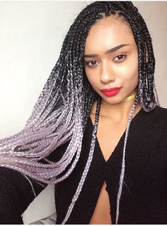 Black & Grey Ombre Jumbo Braid Hair Dip dye by ShopCatface on Etsy