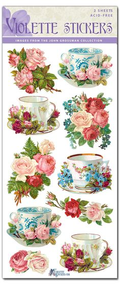 C41 Teacup and Roses – Violette Stickers