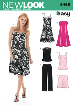 Womens Dress or Top and Pants Sewing Pattern 6468 New Look
