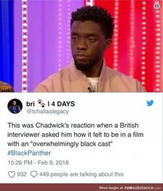 This Was Chadwick's Reaction When A British… Avengers Memes, Marvel Memes, Marvel Venom, Marvel Avengers, Nerd, Marvel Funny, Truth Hurts, Dark Horse, Marvel Cinematic Universe