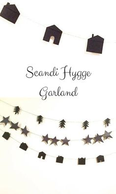 Adorable Scandi-Style paper garland. I'm especially in love with the little houses and the pine trees. #affiliate #scandistyle #christmas #garland