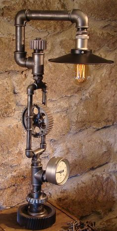 "steampunk and industrial lamps, made by steampunkwally, for more information, steampunkwally soon more lamps available,FYI this is an improved version of ""Pignon lamp with light in steam gauge Pipe Lighting, Industrial Lighting, Vintage Lighting, Cool Lighting, Industrial Table, Industrial Farmhouse, Lighting Ideas, Lampe Steampunk, Steampunk Furniture"