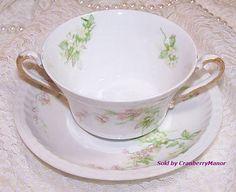 #Haviland #Limoges #France 2 Handled Cream Soup Bowl & Plate Dish Pink Flower Vintage French Designer Fine China Home Decor Chic Serving Shabby