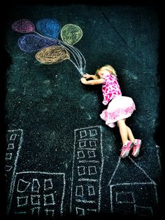 fun summer activity... chalk drawing in the driveway!