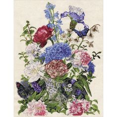"""Bouquet With Cat Counted Cross Stitch Kit-14""""X19"""" 14 Count"""