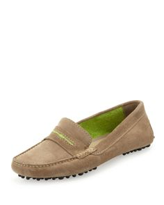 Manolo Blahnik: Terry-Trimmed Suede Driver, Taupe/Lime