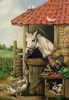 Farmyard Friends Painting by Carl Donner - Farmyard Friends Fine Art Prints and Posters for Sale Arte Country, Country Life, Country Living, Friends Poster, Photo Vintage, Farm Art, Horse Art, Animal Paintings, Beautiful Paintings