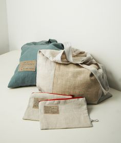 Natural linen tote bags and purses by www.chocolatecreative.co.uk