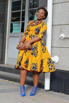 Yellow African print dress, Ankara, African clothing, african dress, african material,African Print, african clothing women, by EssieAfricanPrint on Etsy https://www.etsy.com/listing/464431291/yellow-african-print-dress-ankara