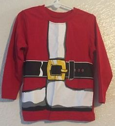 Santa Claus Red Tee Shirt LS Suit Belt 3T Christmas Picture Holiday Fun