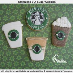 Cookies, not just any cookies they are Starbucks shaped cookies. if all Starbucks did this. Fancy Cookies, Cute Cookies, Cupcake Cookies, Sugar Cookies, Cupcakes, Crazy Cookies, Cookie Icing, Holiday Cookies, Starbucks Cookies