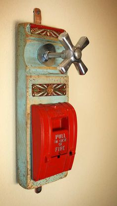 Door Trim Plinth Coat Rack Wall Hanger Faucet Handle Red Fire Alarm by GadgetSponge Diy Projects To Try, Home Projects, Diy Coat Rack, Coat Hanger, Old Fashioned Toys, Firefighter Decor, Fire Sprinkler, Faucet Handles, Wall Hanger