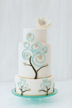 Pretty Jeweled Blue Swirls Tree Cake
