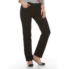 Women's Croft & Barrow® Straight-Fit 5-Pocket Jeans, Size: 10 Short, Black