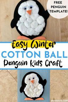 Easy Winter Cotton Ball Penguin Kids Craft