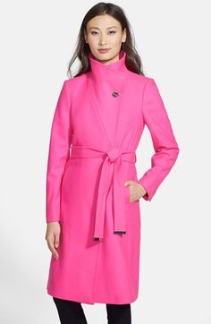 Free shipping and returns on Ted Baker London 'Nevia' Stand Collar Belted Wrap Coat at Nordstrom.com. A signature screwhead button fastens the lofty stand collar of a straight-cut wrap coat fashioned from a cashmere-infused wool blend, and a gleaming buckle secures the self belt to polish the minimalist design.