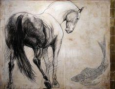 """Le cheval d'Hippocrène"", #mixedmedia on #canvas by #artist Lea Riviere at #Galerie Saint-Dizier"